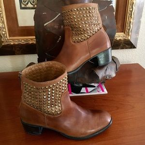 Antro Western Boho Leather Studs Ankle Boot $220
